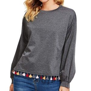 Gray Tassels Long Sleeve Pullover